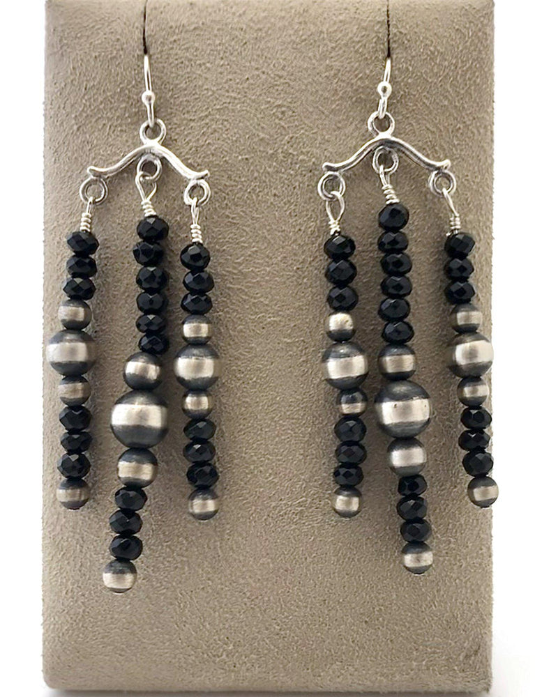 Chandelier Onyx Earrings-Jewelry-Lawrence Baca-Sorrel Sky Gallery