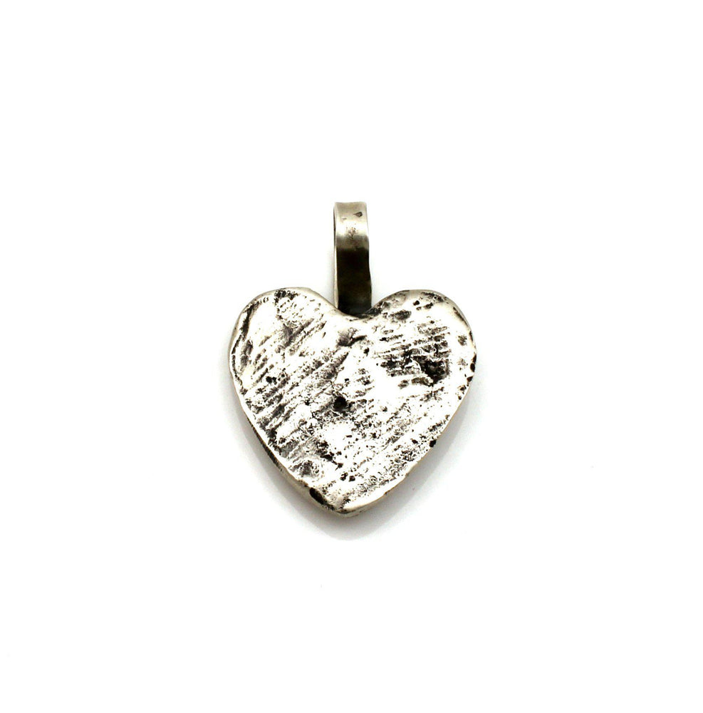Charcoal Silver Heart Pendant-Jewelry-Lawrence Baca-Sorrel Sky Gallery