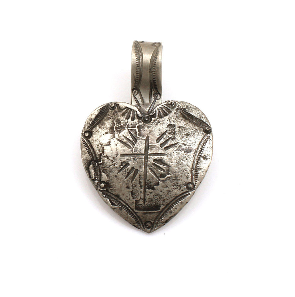 Lawrence Baca-Charcoal Stamped Heart Pendant-Sorrel Sky Gallery-Jewelry