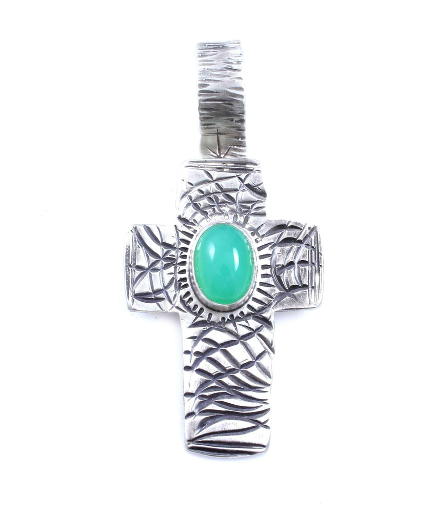 Lawrence Baca-Chrysoprase Stamped Cross Pendant-Sorrel Sky Gallery-Jewelry