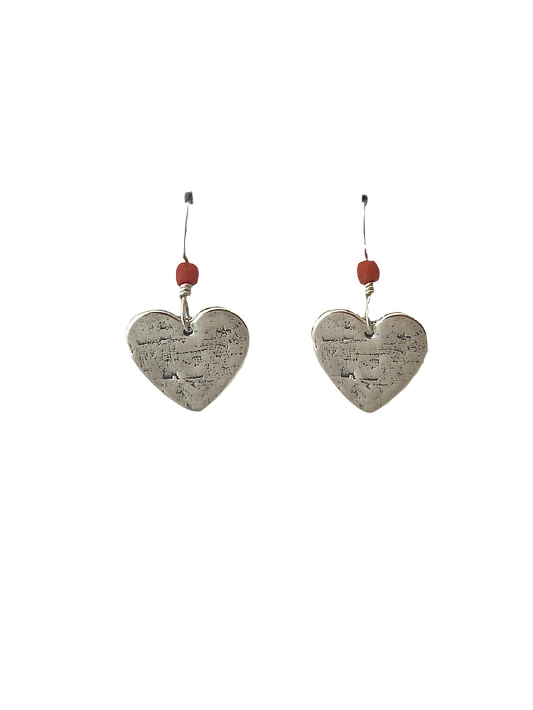 Coral Heart Earrings-Jewelry-Lawrence Baca-Sorrel Sky Gallery