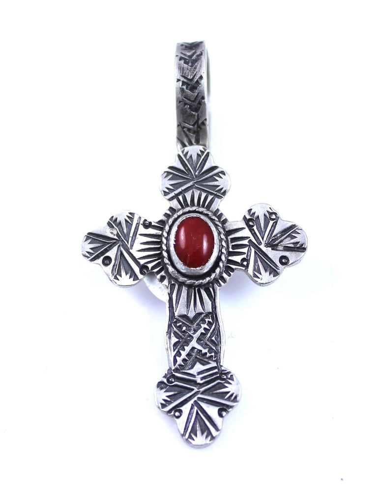 Lawrence Baca-Coral Lily Cross Pendant-Sorrel Sky Gallery-Jewelry