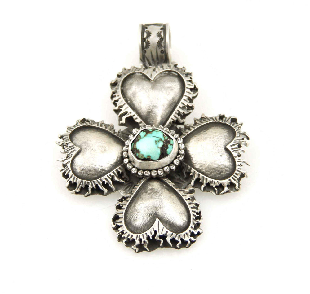 Lawrence Baca-Cross With Four Sacred Hearts Pendant-Sorrel Sky Gallery-Jewelry