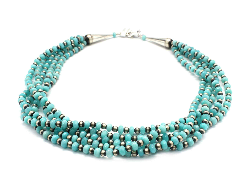 Five Strand Amazonite Bead Necklace