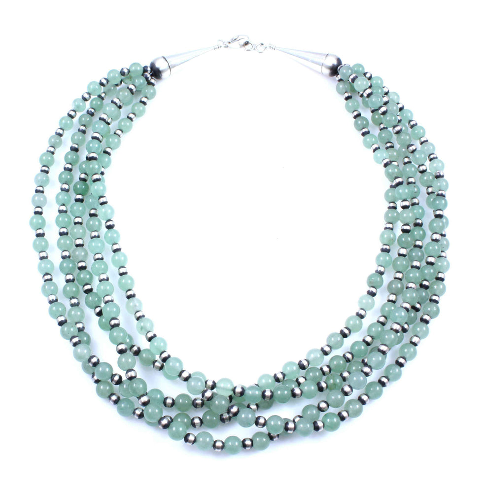 Lawrence Baca-Five Strand Apatite Bead Necklace-Sorrel Sky Gallery-Jewelry