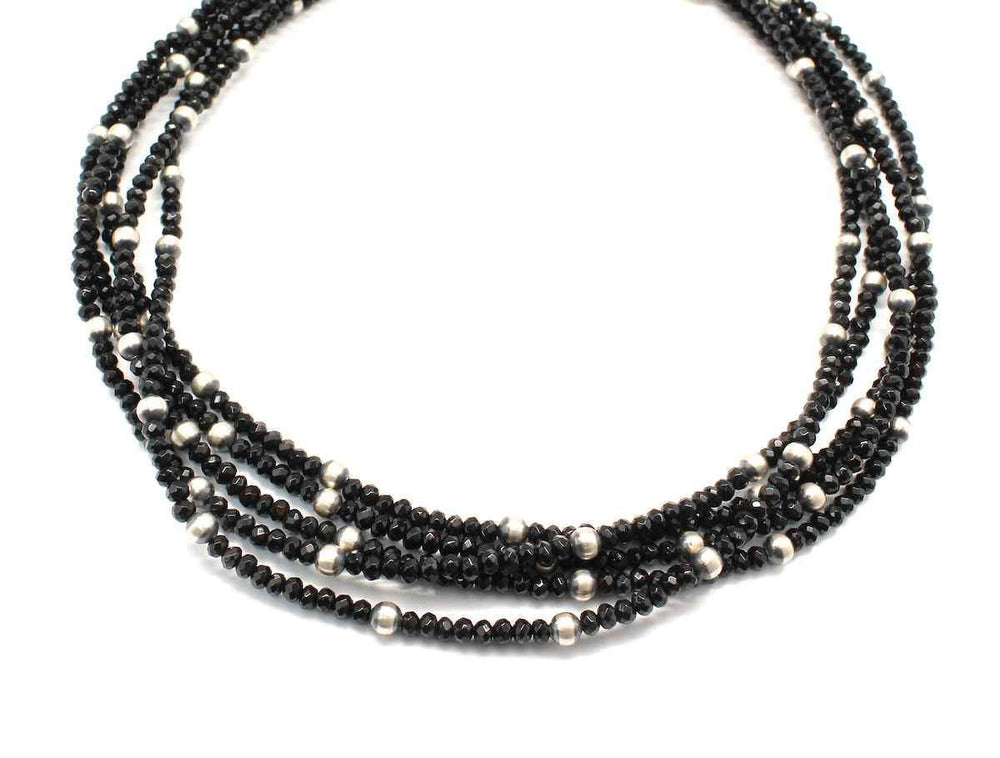 Lawrence Baca-Five Strand Faceted Onyx Bead Necklace-Sorrel Sky Gallery-Jewelry