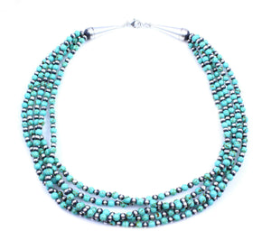 Lawrence Baca-Five Strand Green Magnesite Bead Necklace-Sorrel Sky Gallery-Jewelry