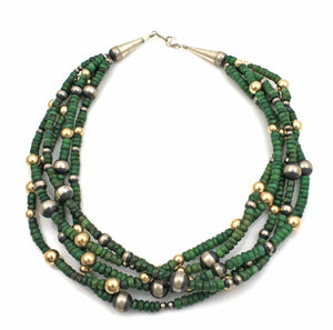 Lawrence Baca-Five Strand Jade Bead Necklace-Sorrel Sky Gallery-Jewelry