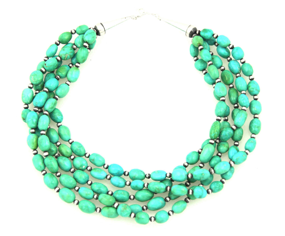 Five Strand Kingman Turquoise Bead Necklace