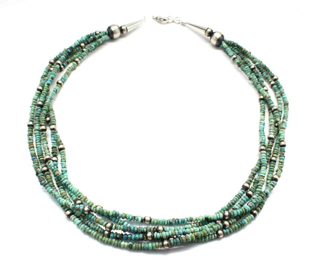 Lawrence Baca-Five Strand Natural Tibetan Turquoise Necklace-Sorrel Sky Gallery-Jewelry