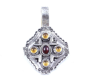 Lawrence Baca-Garnet And Citrine Pendant-Sorrel Sky Gallery-Jewelry