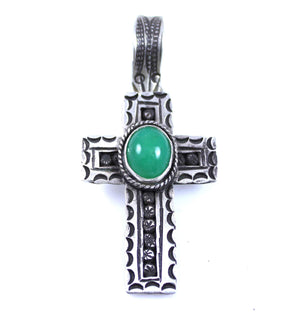 Lawrence Baca-Jade Cross Pendant-Sorrel Sky Gallery-Jewelry