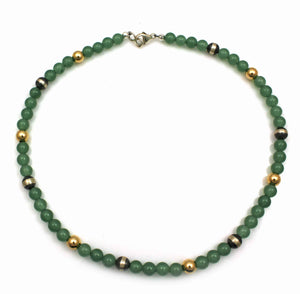 Jade Gold Filled Bead Necklace-Jewelry-Lawrence Baca-Sorrel Sky Gallery