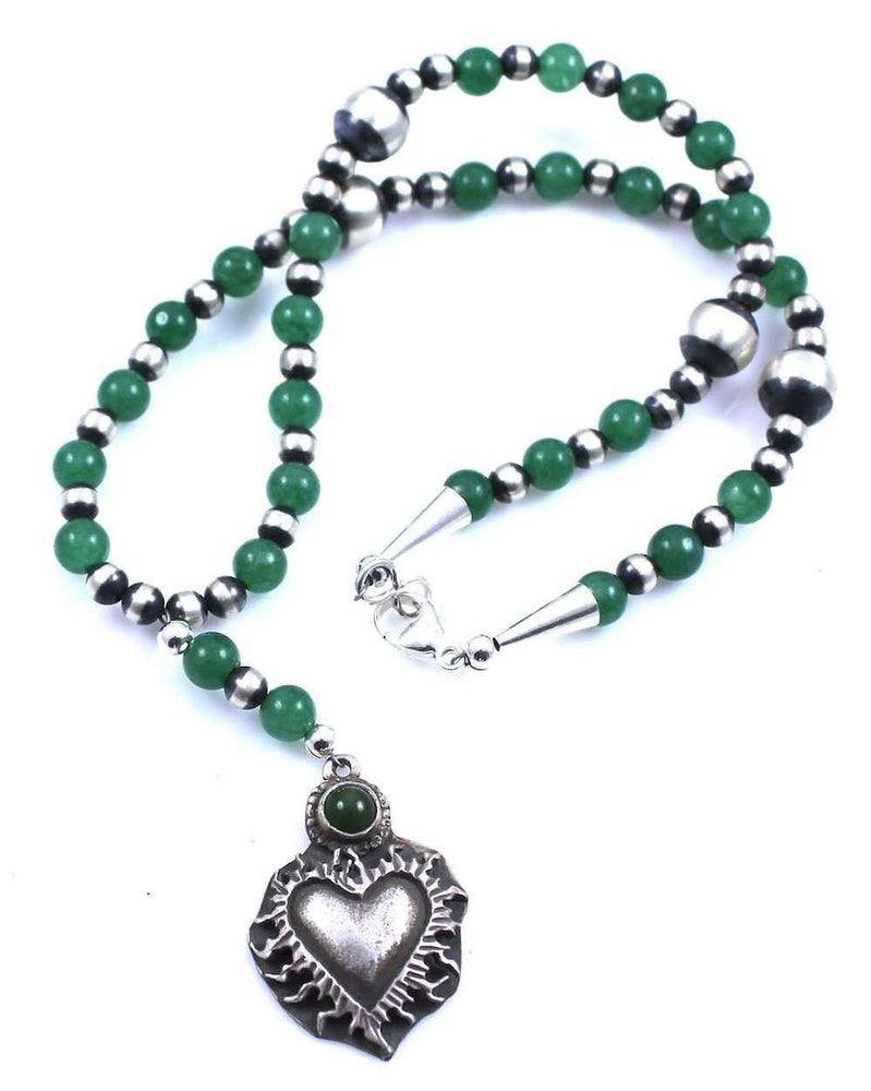 Jade Rosary Style Sacred Heart Necklace