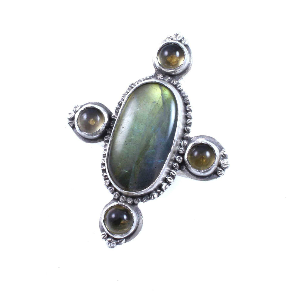 Labradorite And Citrine Ring
