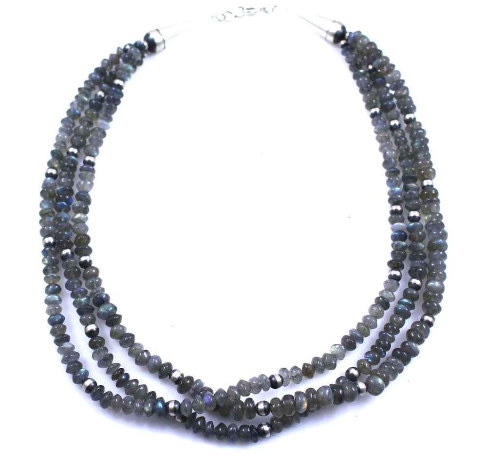 Lawrence Baca-Labradorite And Silver Bead 3 Strand Necklace-Sorrel Sky Gallery-Jewelry
