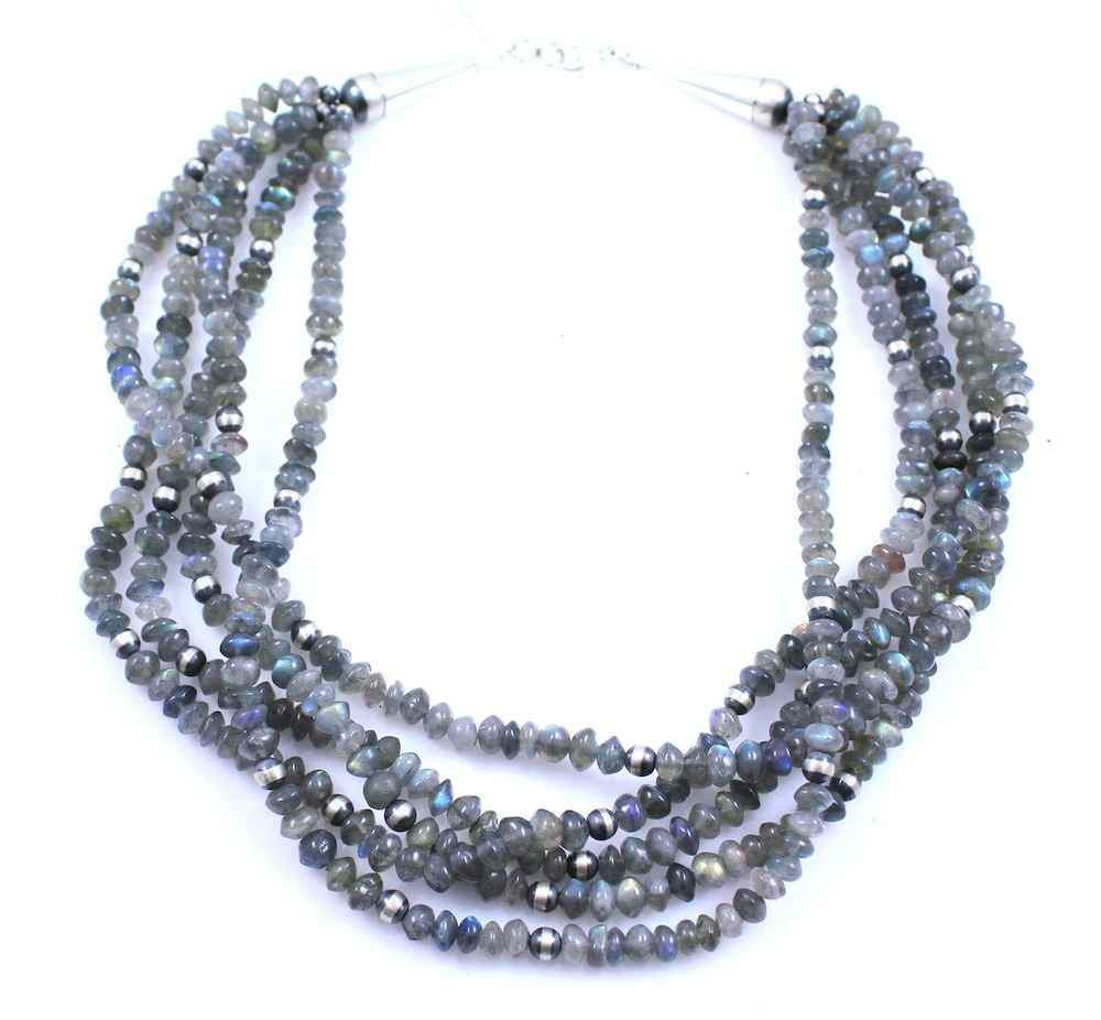 Lawrence Baca-Labradorite And Silver Bead Necklace-Sorrel Sky Gallery-Jewelry