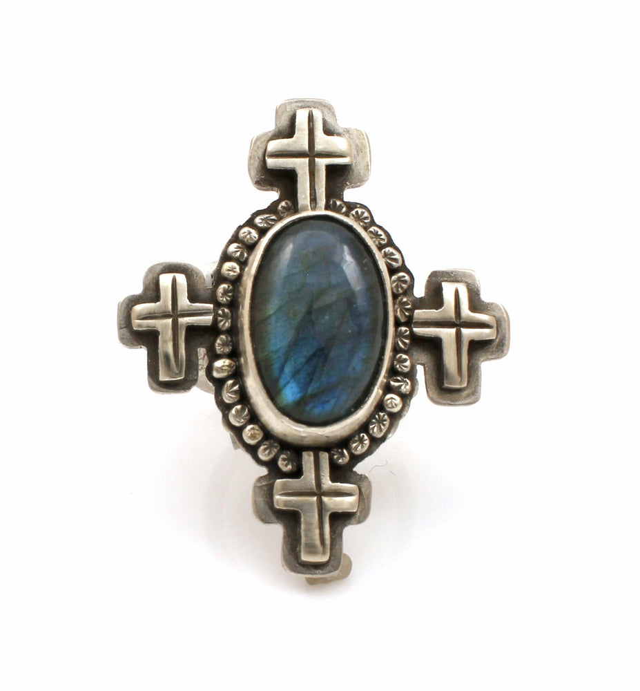 Labradorite Ring With Crosses