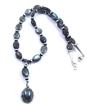 Lawrence Baca-Labradorite Rosary Style Sacred Heart Necklace-Sorrel Sky Gallery-Jewelry
