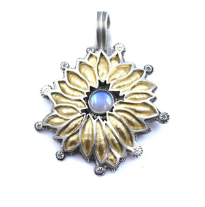 Lawrence Baca-Moonstone Flower Pendant-Sorrel Sky Gallery-Jewelry