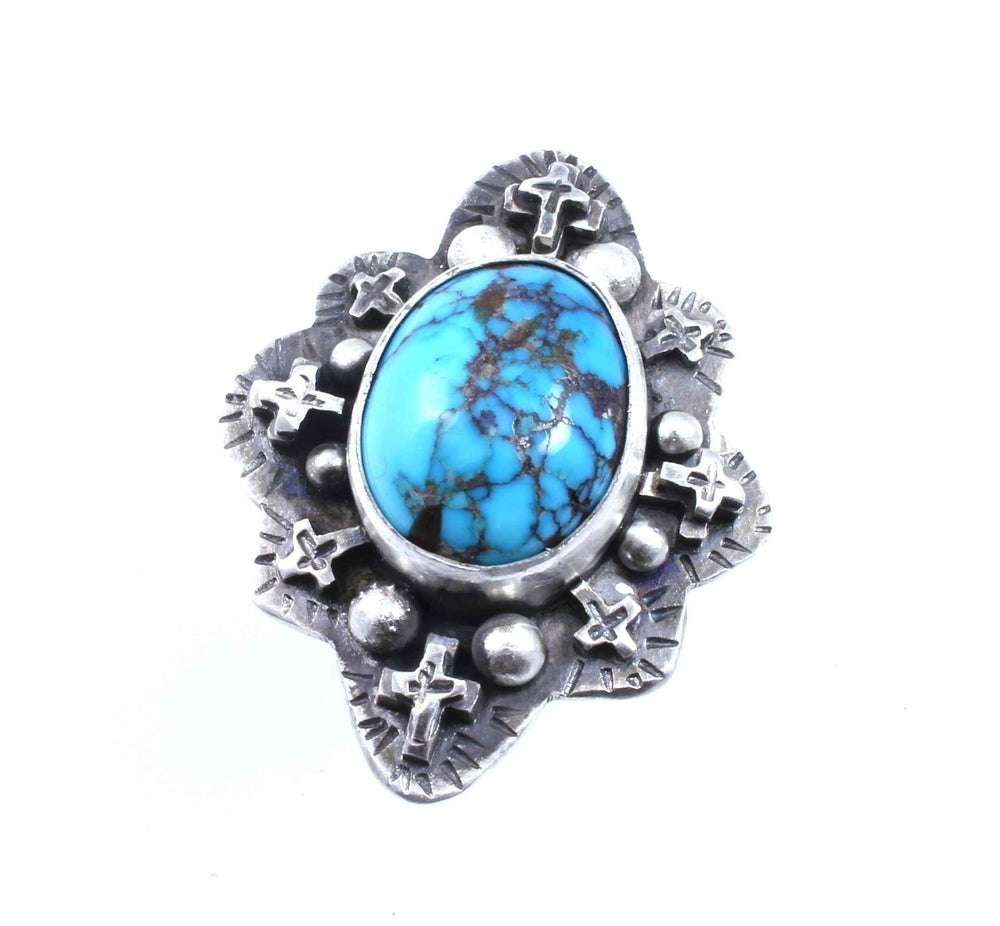 Lawrence Baca-Morenci Turquoise Ring-Sorrel Sky Gallery-Jewelry