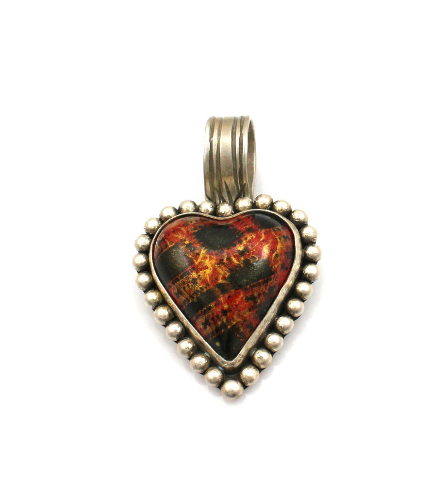 Orange And Black Car Heart Pendant