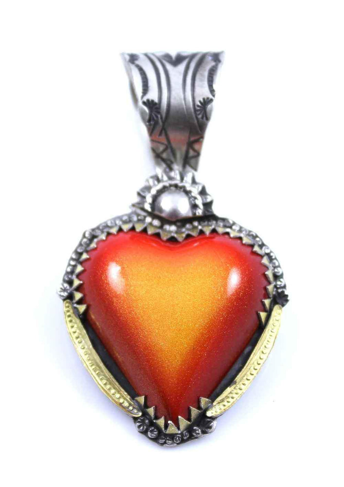 Orange Car Heart Pendant