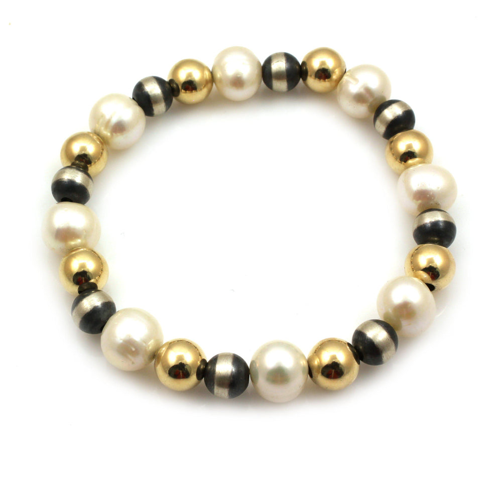 Pearl, Silver and Gold Filled Stretch Bead Bracelet