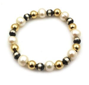 Pearl, Silver and Gold Filled Stretch Bead Bracelet-Jewelry-Lawrence Baca-Sorrel Sky Gallery