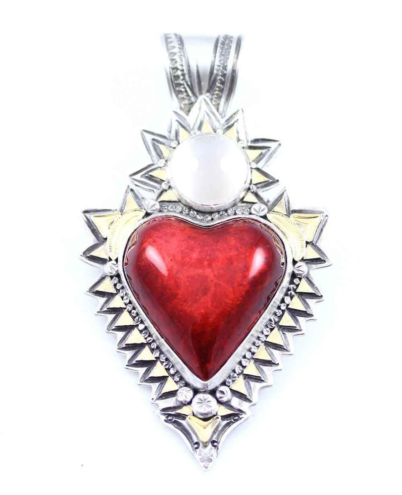 Red Car Heart With Moonstone Pendant