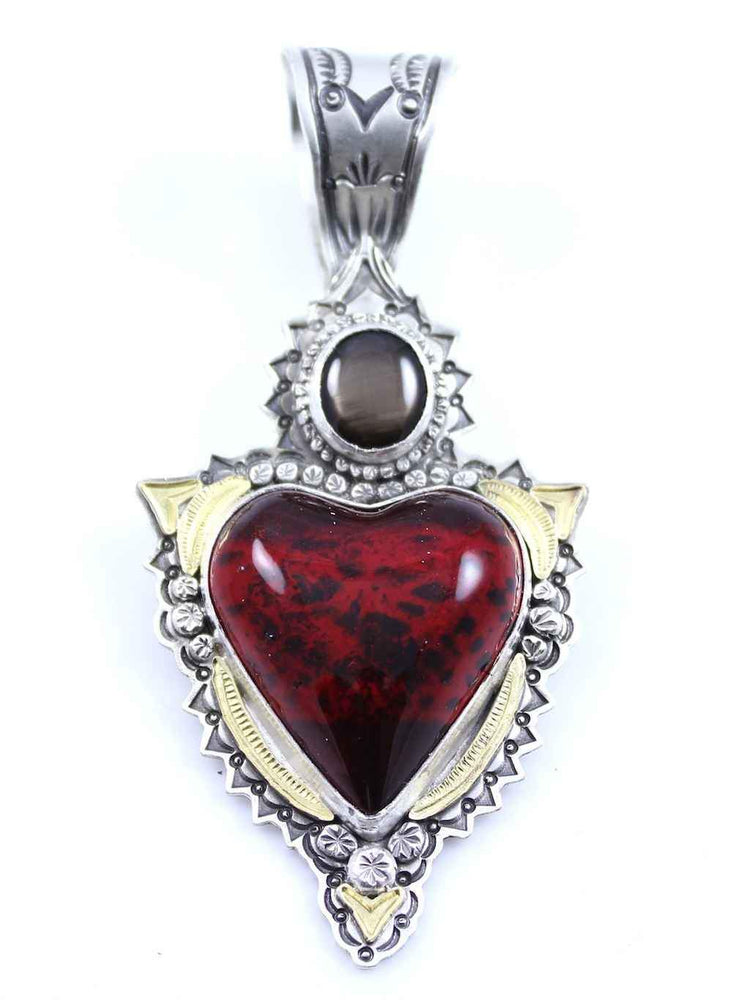Red Car Heart With Sapphire Pendant