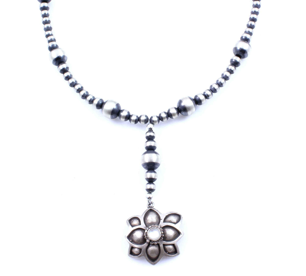 Rosary Style Flower Necklace