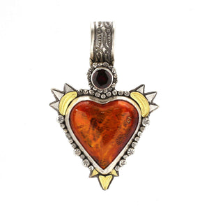 Lawrence Baca-Rust Orange Lowrider Car Heart Pendant-Sorrel Sky Gallery-Jewelry