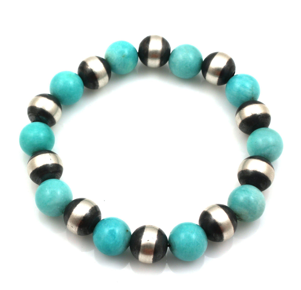 Silver and Amazonite Stretch Bead Bracelet