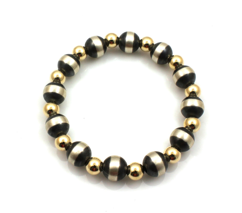 Silver and Gold Filled Stretch Bead Bracelet-Jewelry-Lawrence Baca-Sorrel Sky Gallery