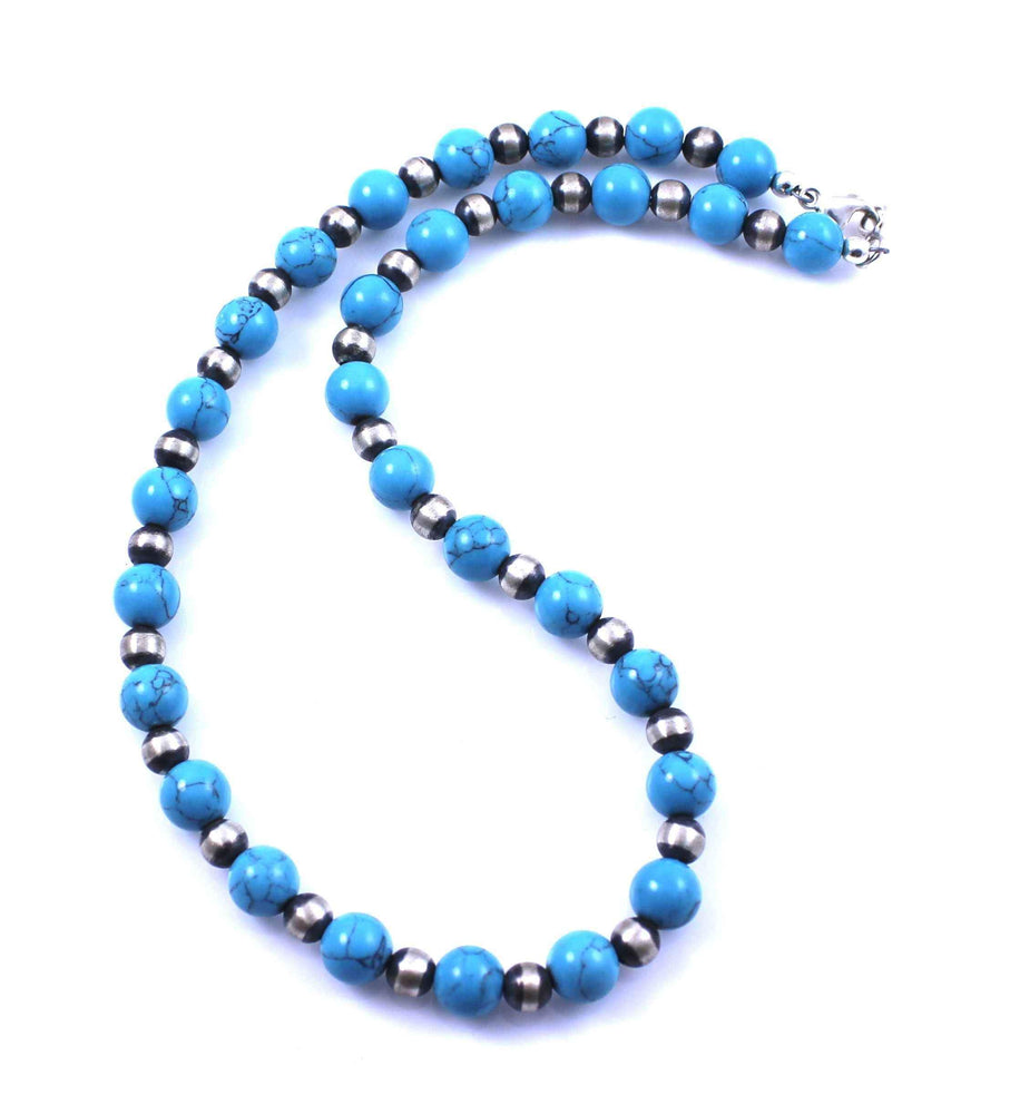 Lawrence Baca-Sleeping Beauty Magnesite Bead Necklace-Sorrel Sky Gallery-Jewelry