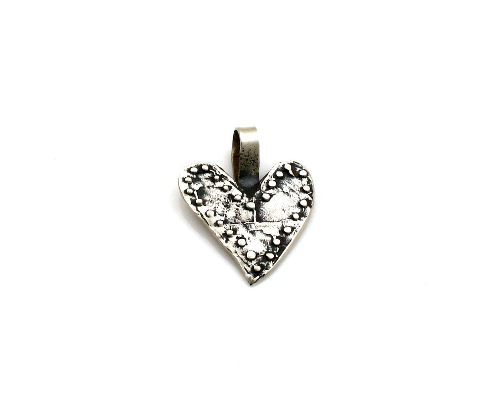 Small Silver Heart Pendant-Jewelry-Lawrence Baca-Sorrel Sky Gallery