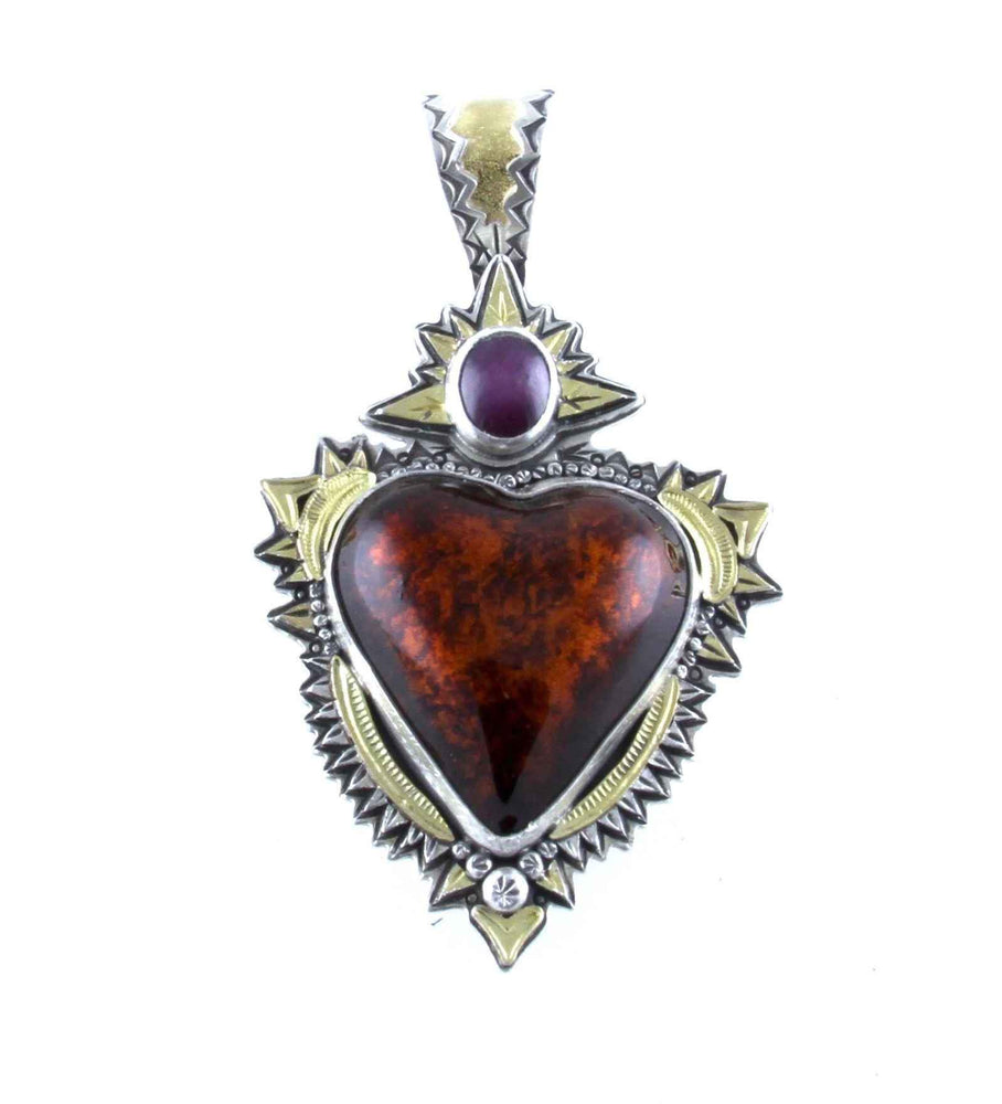 Lawrence Baca-Textured Red Car Heart Pendant-Sorrel Sky Gallery-Jewelry
