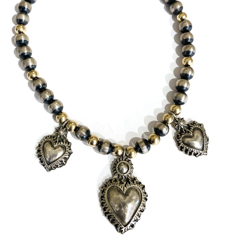 Three Sacred Heart Charm Necklace