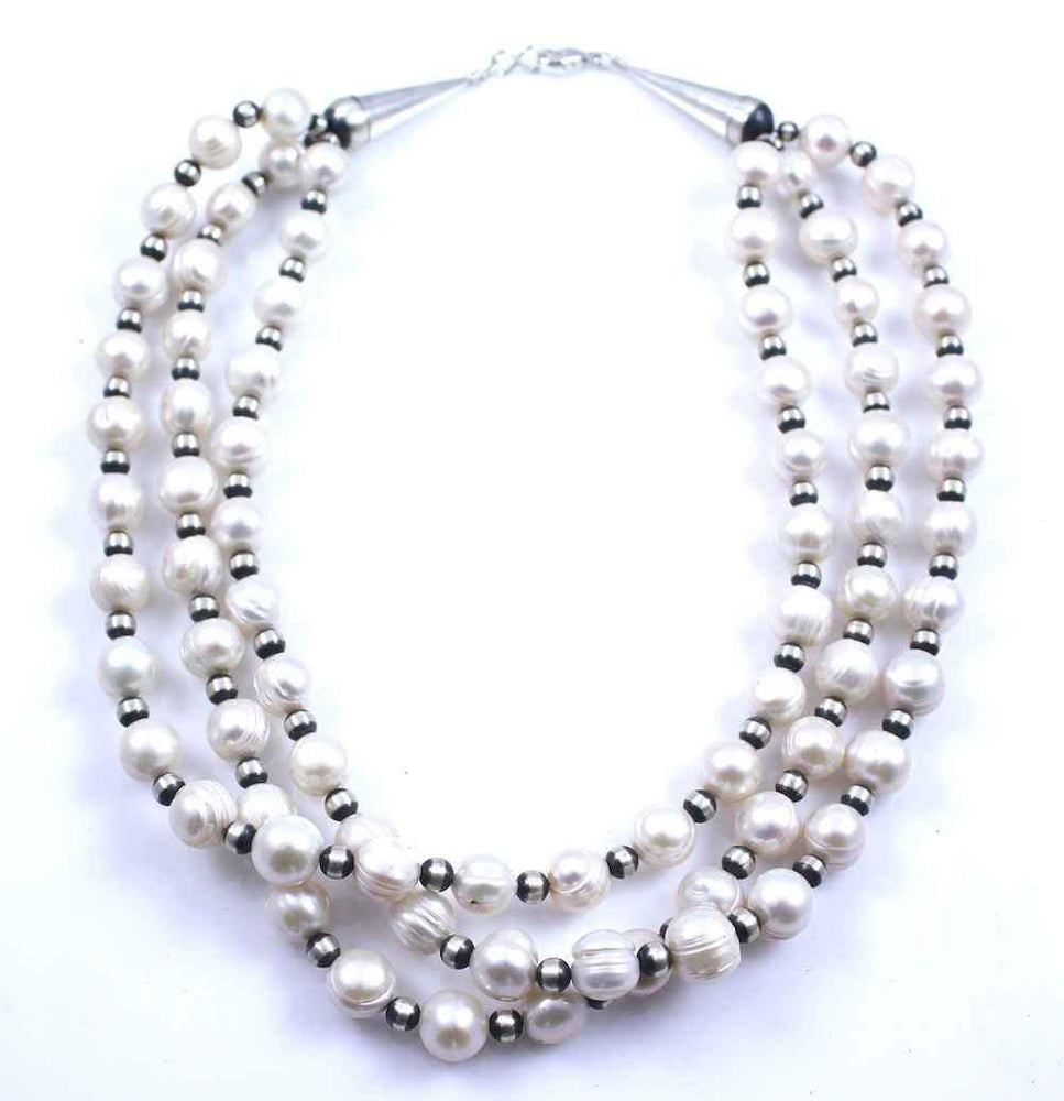 Three Strand 6mm Freshwater Pearl Necklace