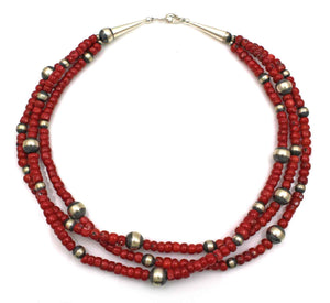 Three Strand Bamboo Coral Bead Necklace-Jewelry-Lawrence Baca-Sorrel Sky Gallery