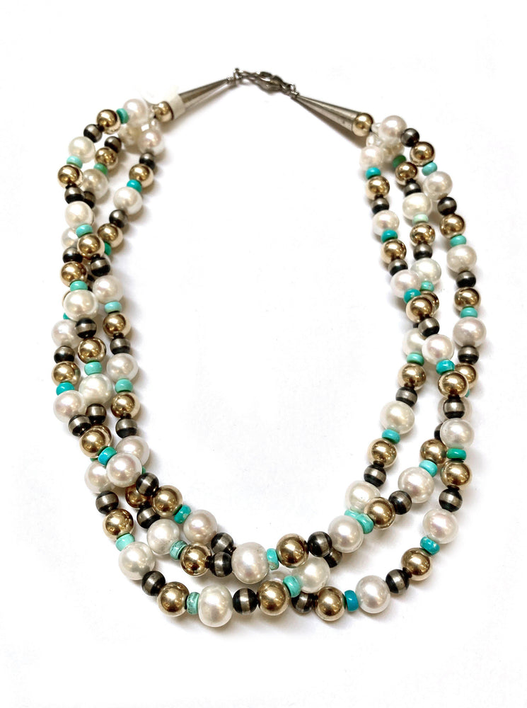 Lawrence Baca-Three Strand Freshwater Pearls And Turquoise Bead Necklace-Sorrel Sky Gallery-Jewelry