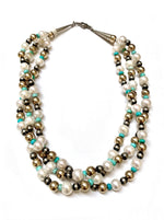 Three Strand Freshwater Pearls And Turquoise Bead Necklace