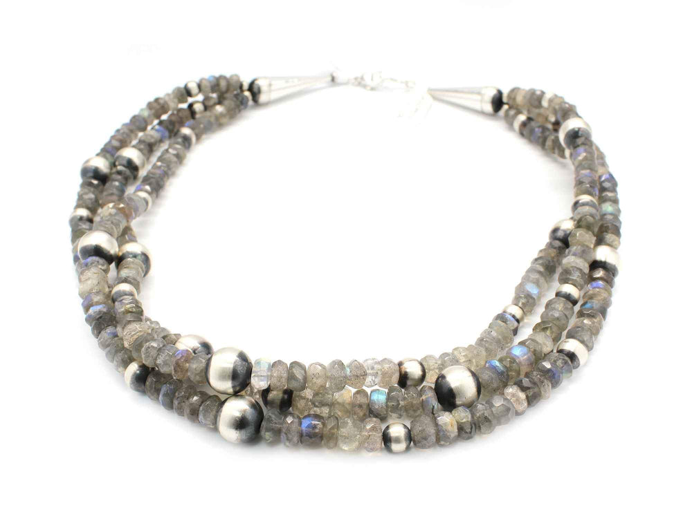 Three Strand Labradorite Bead Necklace