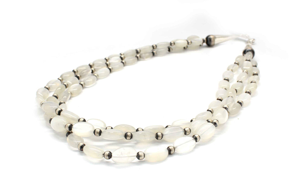 Three Strand Moonstone Bead Necklace