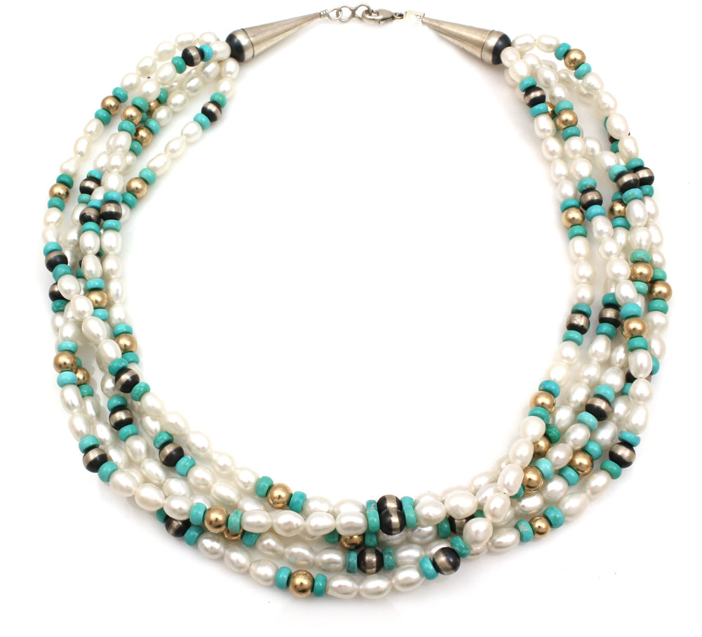 Three Strand Pearl Bead Necklace