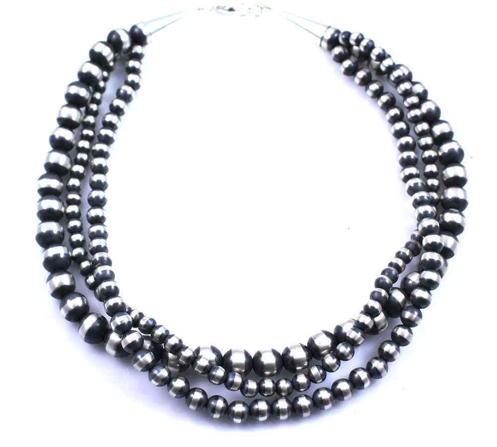 Lawrence Baca-Three Strand Silver Bead Necklace-Sorrel Sky Gallery-Jewelry