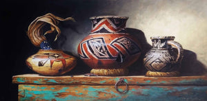 Still life acrylic painting of ancient jars by Lisa Danielle