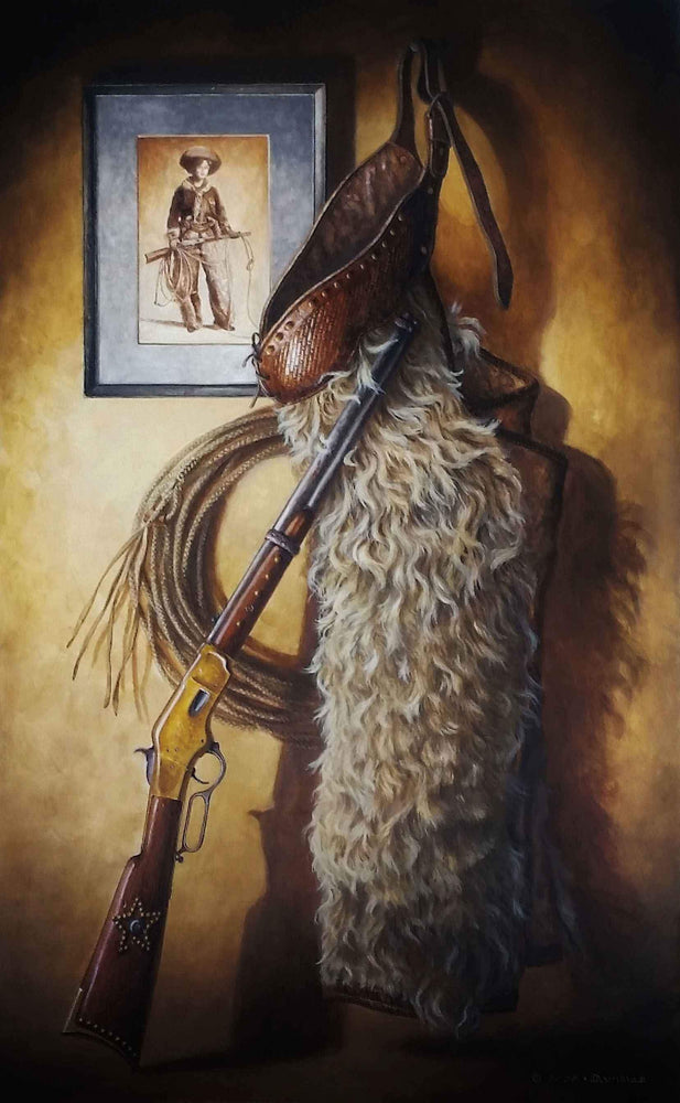 acrylic paining of winchester riffle and gun holster