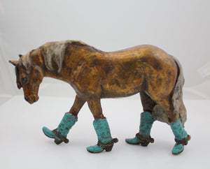 Walken' Boots (medium)-Sculpture-Lisa Gordon-Sorrel Sky Gallery